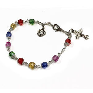 Multi-Color Crystal Rosary Bracelet