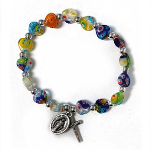 Murano Heart Bead Youth Stretch Bracelet