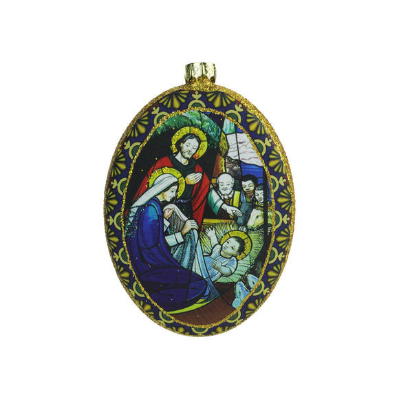 Oval Stained Glass Nativity Ornament