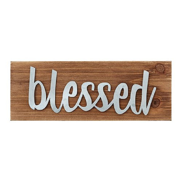 Blessed Wood Tabletop Plaque