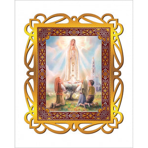 Our Lady of Fatima Print in a Gold Ornate Frame