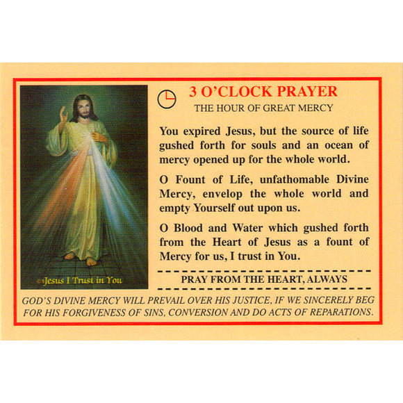 Chaplet of Divine Mercy and 3 O'Clock Prayer Prayercard