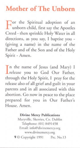 Prayer to the Mother of the Unborn Prayercard
