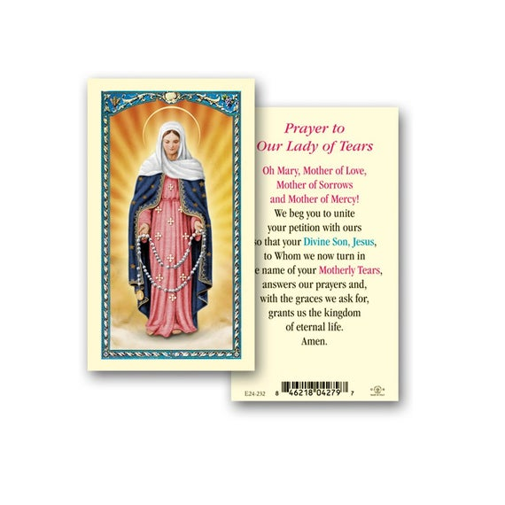 Our Lady of Tears Holy Card