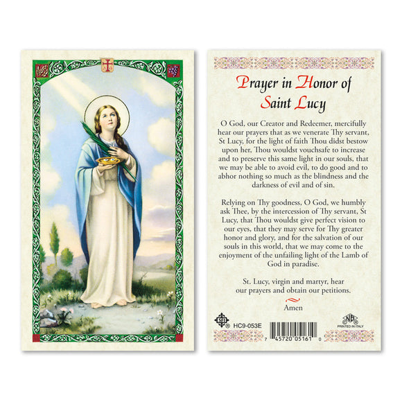 Prayer in Honor of St Lucy - English