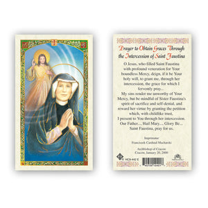 Prayer to Obtain Graces Through the Intercession of Saint Faustina