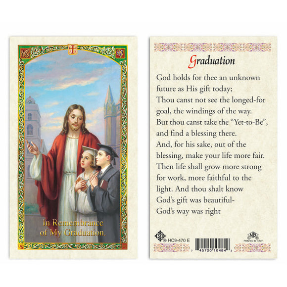 Jesus with Graduates - Graduation Prayer Card