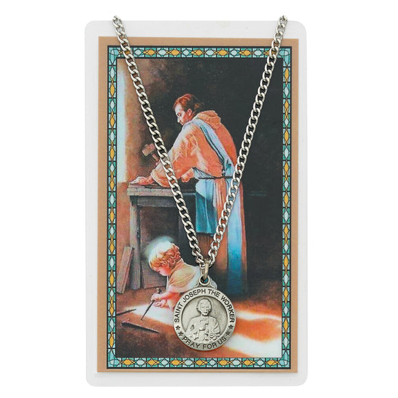 St. Joseph the Worker Pewter Medal and Prayer Card