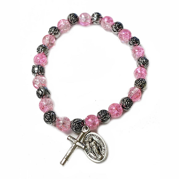 Pink Glass & Rose Bead Child's Stretch Bracelet