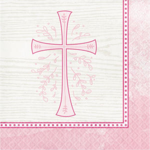 Pink Cross Beverage Napkins