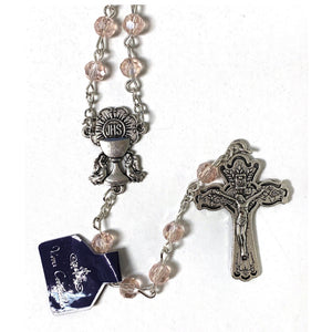 Pink Crystal First Communion Rosary
