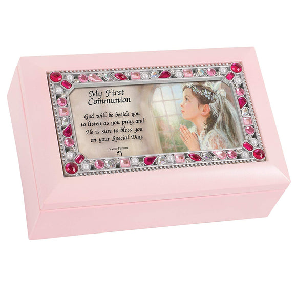 Pink Jeweled First Communion Music Box