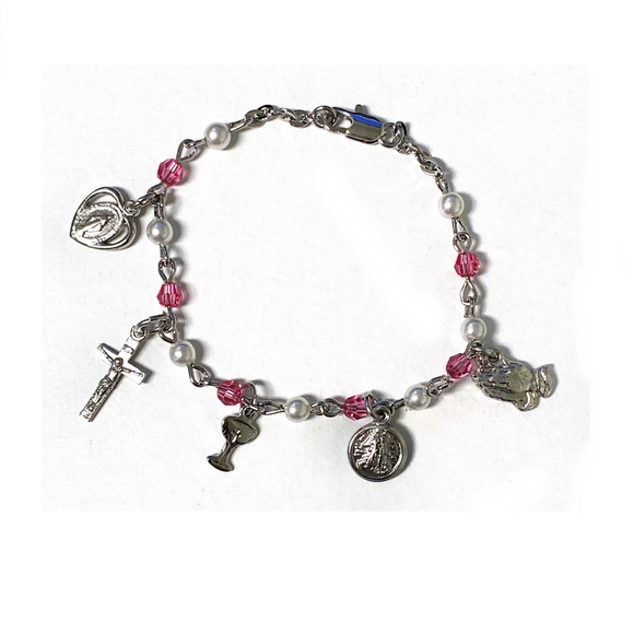 Pink Crystal & Pearl First Communion Charm Bracelet
