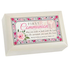 Ivory & Pink Jeweled First Communion Music Box