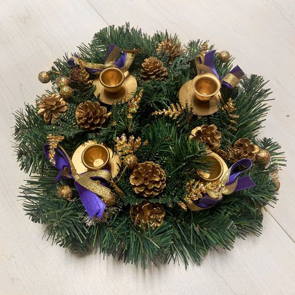 Purple & Gold Bow Glittery Advent Wreath
