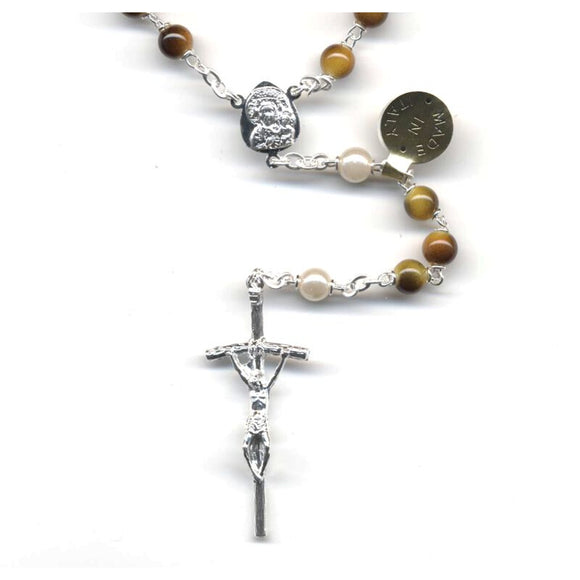 Tiger Eye with Synthetic Pearl Our Father Beads Rosary - Silver Plated