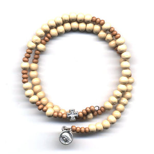Wrap Rosary - Pale with Light Brown Beads