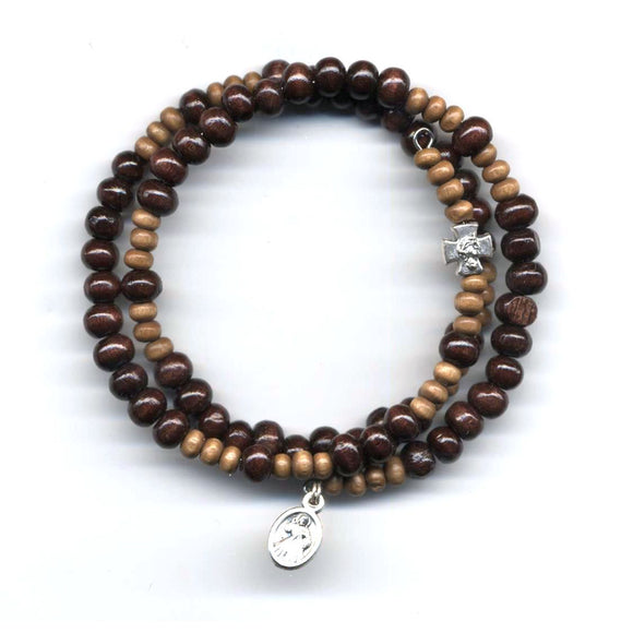 Wrap Rosary - Dark with Light Brown Beads