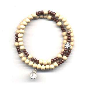 Wrap Rosary - Pale with Dark Brown Beads