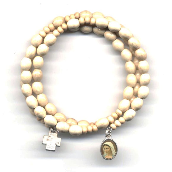 Wrap Rosary - Pale Brown Beads