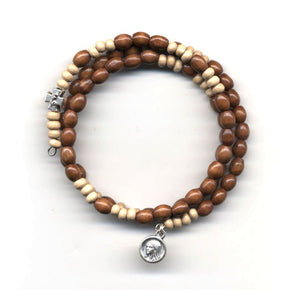 Wrap Rosary - Light with Pale Brown Beads