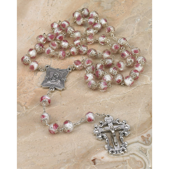 White Crystal Rose Rosary