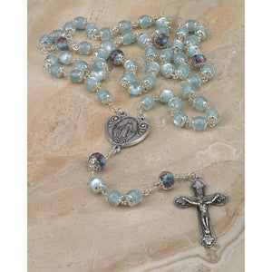 Light Blue Glass Rosary with Genuine Crystal