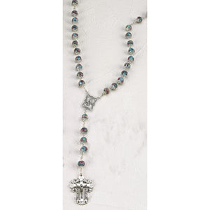Light Blue Crystal Rose Rosary