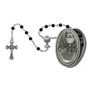 Black Glass Rosary with Pewter Communion Keepsake Box