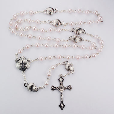 Pink Pearl & Shell Baptism Rosary