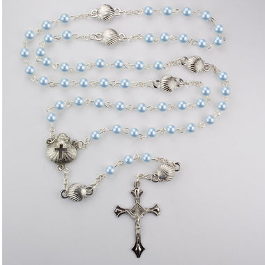 Blue Pearl & Shell Baptism Rosary