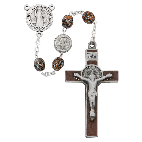 Speckled Brown Saint Benedict Rosary