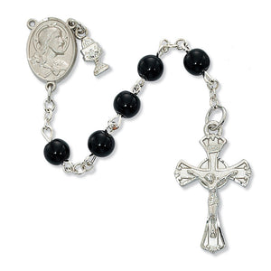 Black Glass Communion Rosary