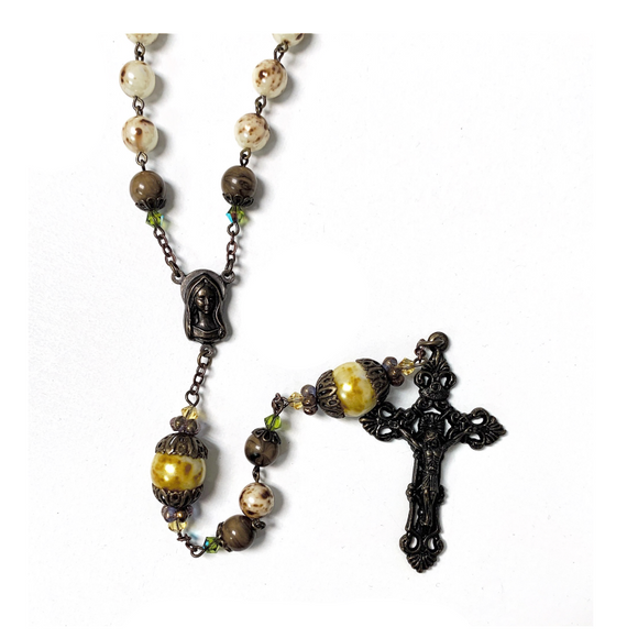 Rustic Yellow Rosary