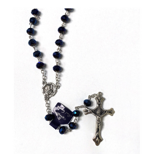 Blue Metallic Bead Rosary