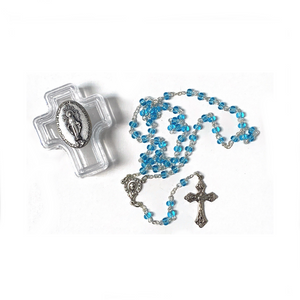 Cross Box with Aqua Rosary