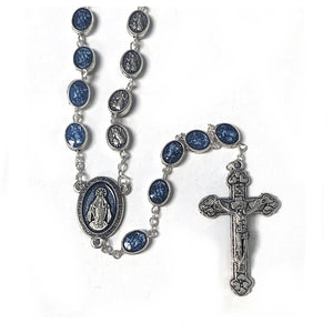 St. Michael & Guardian Angel Blue Enameled Rosary
