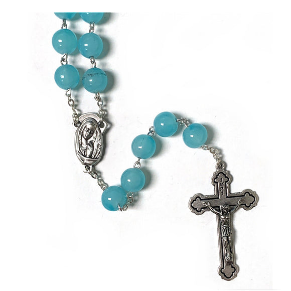 10mm Aqua Bead Rosary