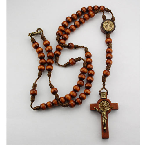 Small Brown Wood St. Benedict Rosary