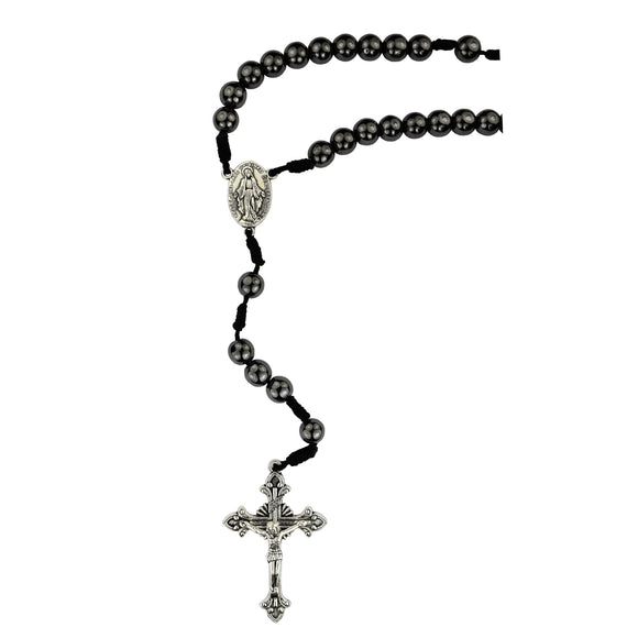 Hematite Miraculous Medal Rosary