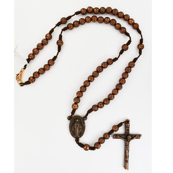 Copper Rose Corded Rosary