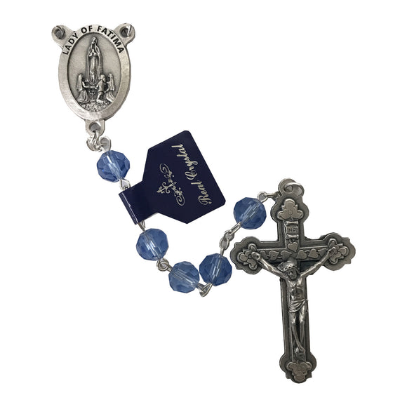 Blue Crystal Our Lady of Fatima Rosary