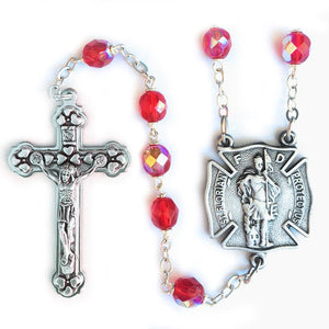 Ruby Crystal Firefighter Rosary
