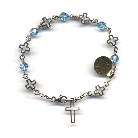 Light Blue Swarovski Crystal Rosary Bracelet