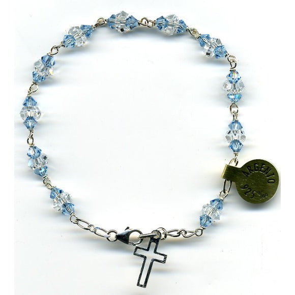 Swarovski Crystal Light Blue & Clear Bead Rosary Bracelet in Sterling Silver