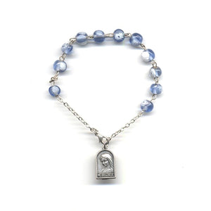 Blue and White Murano Rosary Bracelet
