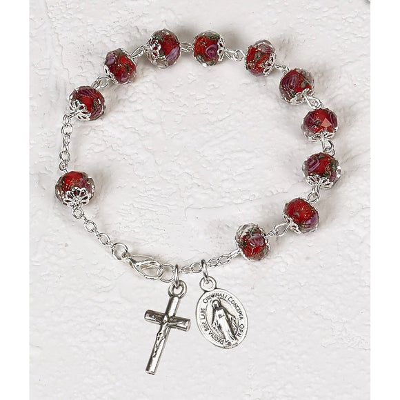 Red Rose Crystal Rosary Bracelet