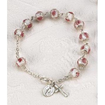 White Rose Crystal Rosary Bracelet