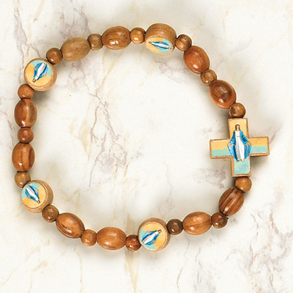 Our Lady of Grace Wooden Stretch Bracelet