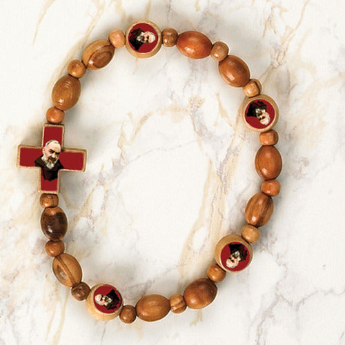 Padre Pio Wooden Stretch Bracelet